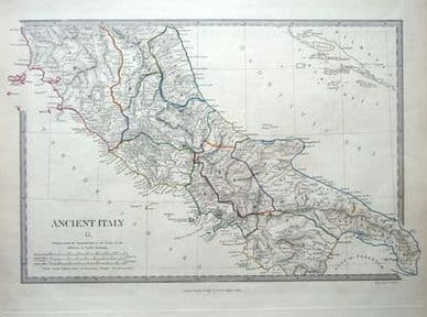 CENTRAL ITALY, ROME,  antique map c1840