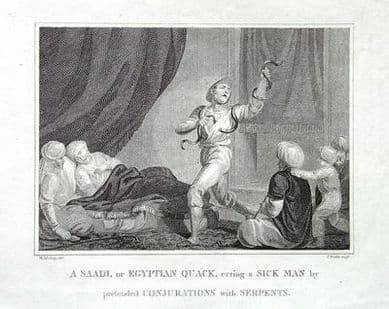 EGYPT, EGYPTIAN  QUACK ,SAADI CONJURING WITH SNAKES, Original Antique Print 1806