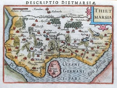 GERMANY, SCHLESWIG HOLSTEIN, HEIDE, MARNE, MELDORF, P.BERTIUS original antique map 1606