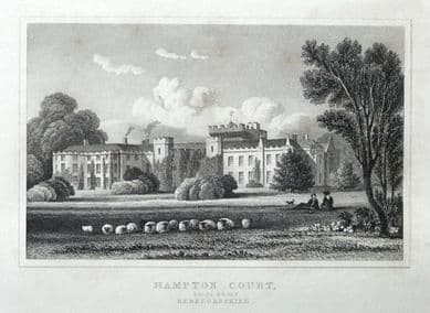 HAMPTON COURT, South  HOPE UNDER DINMORE, HEREFORDSHIRE orig. antique print 1831