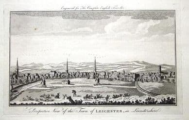 LEICESTER  PANORAMA, Nat.Spencer,Complete English Traveller  Antique Print c1771