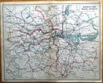 LONDON RAILWAY MAP With Postal Districts Original Antique Lithographed Map 1925
