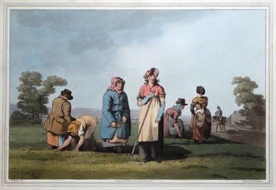 LOWKERS, COSTUME OF YORKSHIRE, Farm Workers, Walker, original antique print 1814