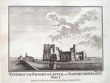 NORTHUMBERLAND, TYNEMOUTH CASTLE   Antique Print 1786