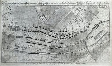 PLAN of the BATTLE of WEISSENFELS, GERMANY, FRANCO-PRUSSIAN WAR antique map 1757