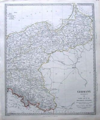 POLAND, PRUSSIA, GERMANY antique map c1840