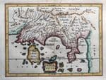 S.E.ASIA, INDIA, Taprobana, Sri Lanka,Malaysia, Cluver, Jansson antique map 1661