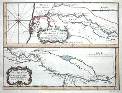 SENEGAL, AFRICA  N.Bellin  Original antique hand coloured map c1750