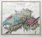 SWITZERLAND, Thomson,Walker original hand coloured antique map 1816