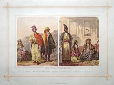 TRADITIONAL COSTUME of IRAN, PERSIA, KURDS antique print 1882