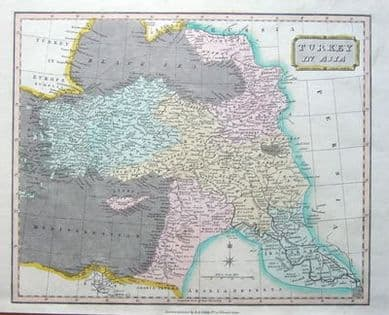 TURKEY,CYPRUS, SYRIA, ISRAEL,IRAQ Wallis antique map 1811