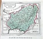 WALES, CAERMARTHENSHIRE,  Seller/ Grose Hand Coloured Antique  Map 1786