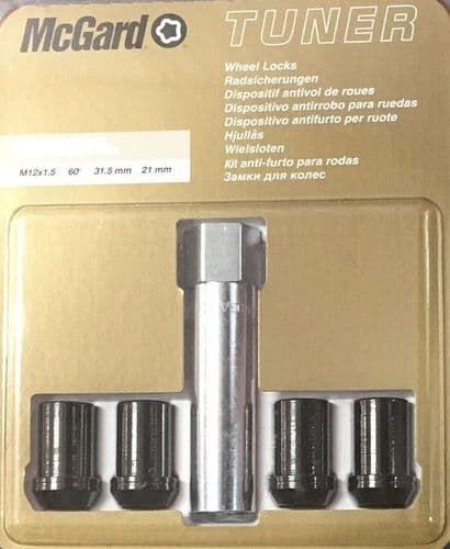 McGARD TUNER LOCKING WHEEL NUTS To Fit All Mazda's Silver or Black
