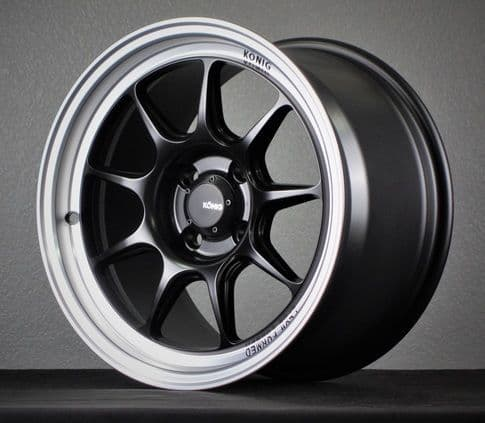 MX5 NC Konig Countergram 17x9 5x114 +43 Matte Black w/ Matte Machined Lip