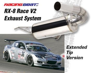 """Racing Beat RX8  Race V2  3"""" Cat Back Exhaust System with  Extended Tip for 04-08 & R3 models"""