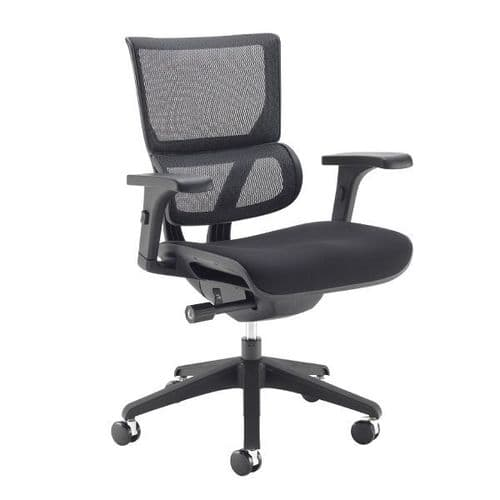 Dynamo Fabric Seat Mesh Back Office Chair - Black