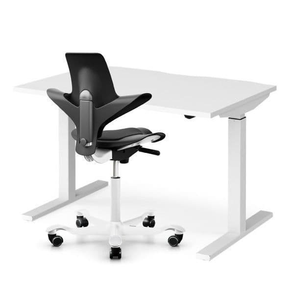 Elev8 Mono straight sit-stand desk & HAG Capisco 8010 Black