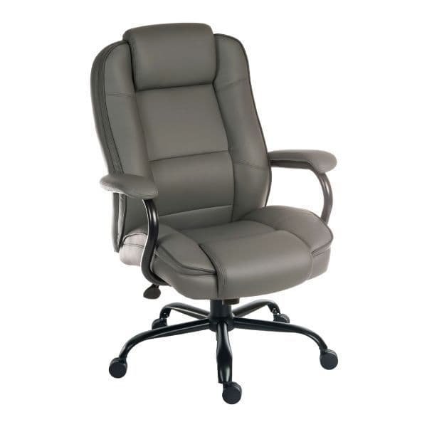 Goliath Duo Grey Leather Heavy Duty Office Chair 27 Stone