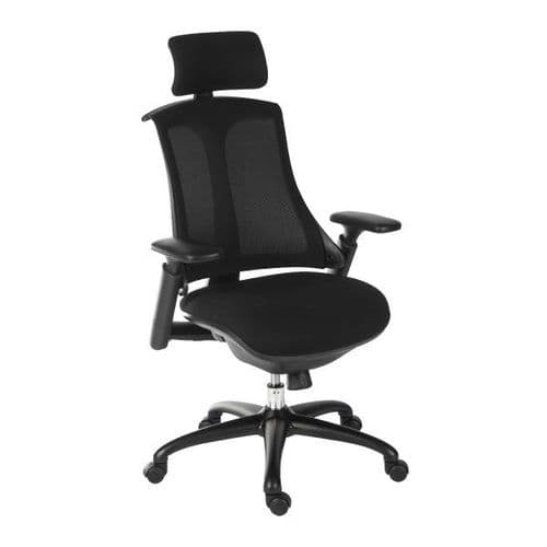 Teknik Rapport Mesh Back Office Chair with Headrest - Black