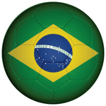 Brazil Football Flag 58mm Button Badge