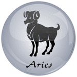 Aries Astrology Grey 25mm Flat Back