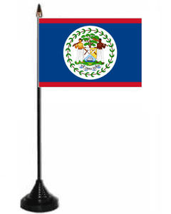Belize Desk / Table Flag with plastic stand and base.