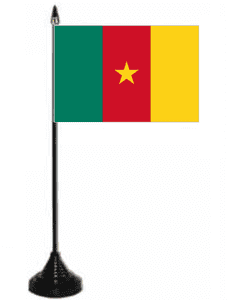 Cameroon Desk / Table Flag with plastic stand and base.