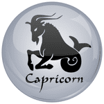 Capricorn Astrology Grey 25mm Flat Back