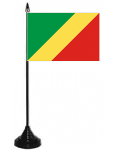 Congo Brazzaville Desk / Table Flag with plastic stand and base.