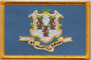 Connecticut Embroidered Flag Patch, style 08.