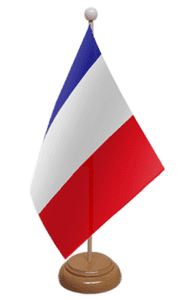 France Desk / Table Flag with wooden stand and base