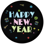 Happy New Year Neon 58mm Button Badge