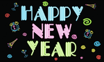 Happy New Year Neon Large Flag - 5' x 3'.