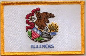 Illinois Embroidered Flag Patch, style 08.
