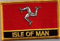 Isle of Man Embroidered Flag Patch, style 09.