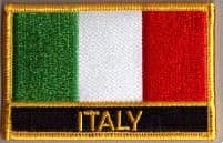 Italy Embroidered Flag Patch, style 09.