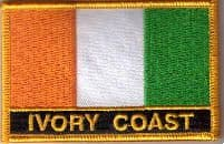 Ivory Coast Embroidered Flag Patch, style 09.