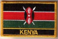 Kenya Embroidered Flag Patch, style 09.
