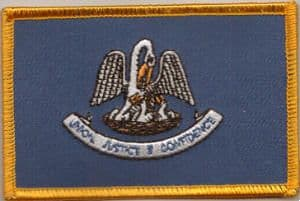 Louisiana Embroidered Flag Patch, style 08.