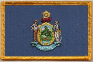 Maine Embroidered Flag Patch, style 08.
