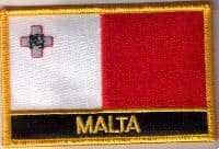 Malta Embroidered Flag Patch, style 09.