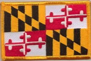 Maryland Embroidered Flag Patch, style 08.