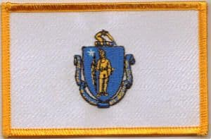 Massachusetts Embroidered Flag Patch, style 08.