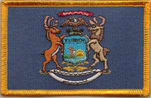 Michigan Embroidered Flag Patch, style 08.