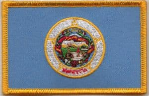 Minnesota Embroidered Flag Patch, style 08.