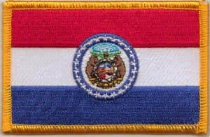 Missouri Embroidered Flag Patch, style 08.