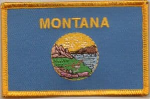 Montana Embroidered Flag Patch, style 08.