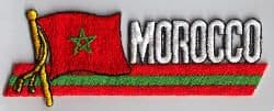 Morocco Embroidered Flag Patch, style 01.