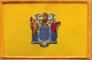 New Jersey Embroidered Flag Patch, style 08.