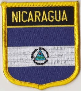 Nicaragua Embroidered Flag Patch, style 07.